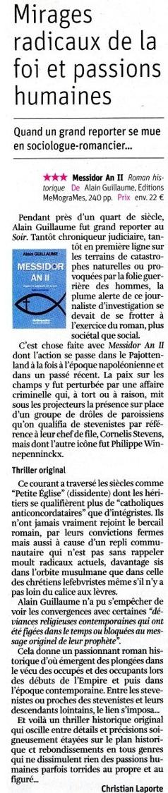 Revue de presse du 5 juin 2019 - article dans la Libre Belgique